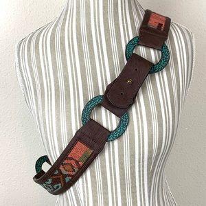 Chico's Bohemian Boho Hip Belt Tribal Inlay Belt